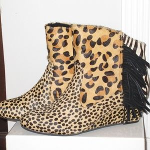 Animal print fringe calf hair ankle boots wedge 7